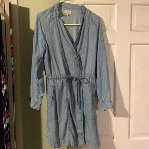 Lou & Grey Chambray Overlap Denim Dress